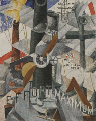 """Visual Synthesis of the Idea: """"War"""", Gino Severini, 1914.    I like this picture due to the """"synthesis"""" of the various perspectives and strong linearity."""