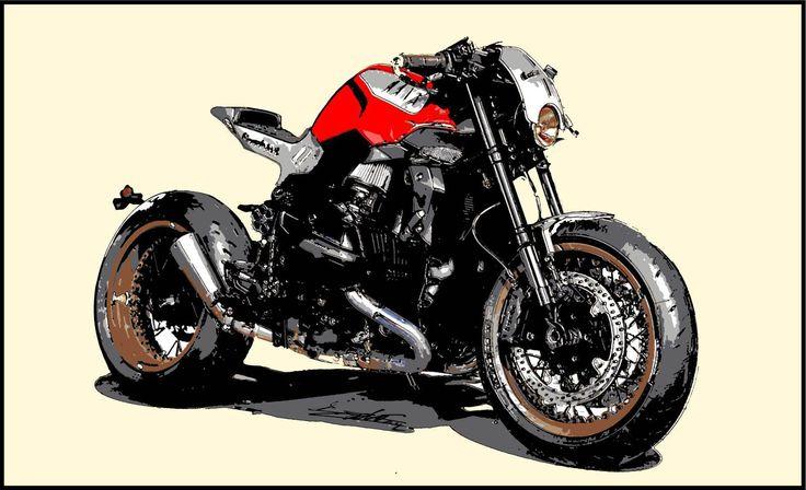 Tableau moto moderne déco noir blanc rouge