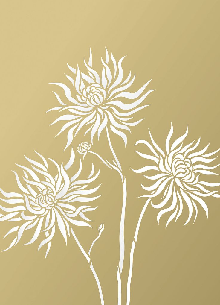 Three chrysanthemum flower stencil pack 3 - sheet stencil The Small Chrysanthemum Flower Stencil Theme Packcomprises three beautiful flower stencil designs of the classic chrysanthemum flower. Graceful flowing flower petals clustered together above elegant stems - perfect for creating individual