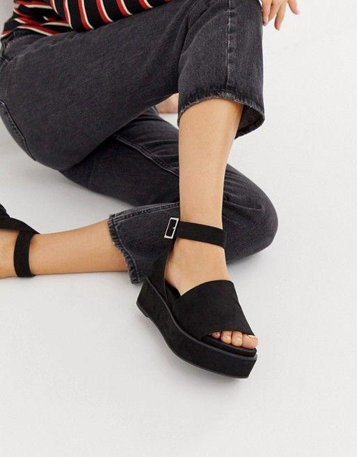 34d43fb7ee DESIGN Wide Fit Taylor flatform sandals in 2019 | wish to wear ...