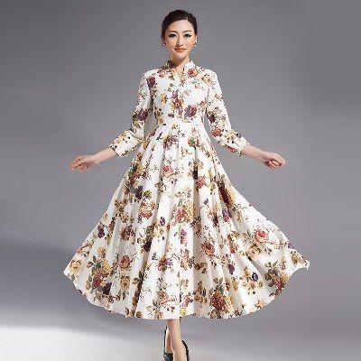 Uzun Kollu Çiçekli Keten Elbise Modelleri