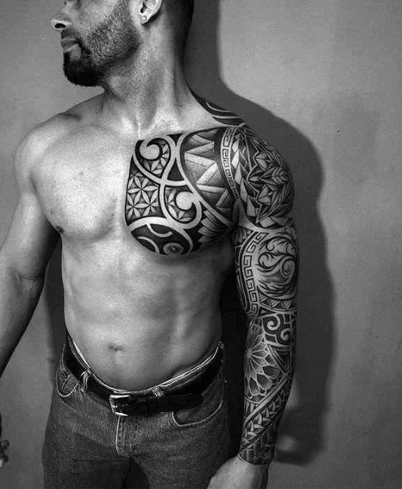 Full Arm Sleeve And Chest Sick Tribal Hawaiian Male Tattoo Ideas