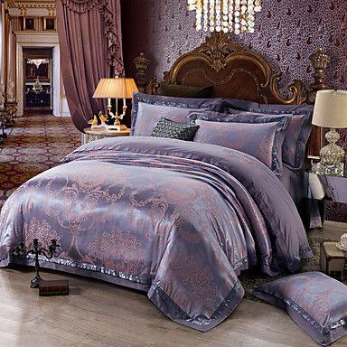 soft queen king size bedding set luxury silk cotton blend duvet cover sets