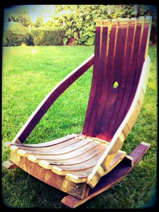 My one off design called the Fireside Lounger. Made out of wine barrel staves. Feel free to steal this idea.
