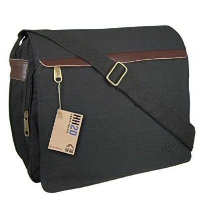 Hey Hey Twenty - Mens Canvas Messenger Bag with Real Leather Trim, Colour : Greyish Black Large Pocket