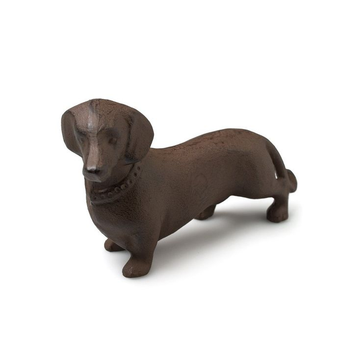 "Cast Iron Dachshund in Dark Rust Finish. Dimensions: 5.75""L"