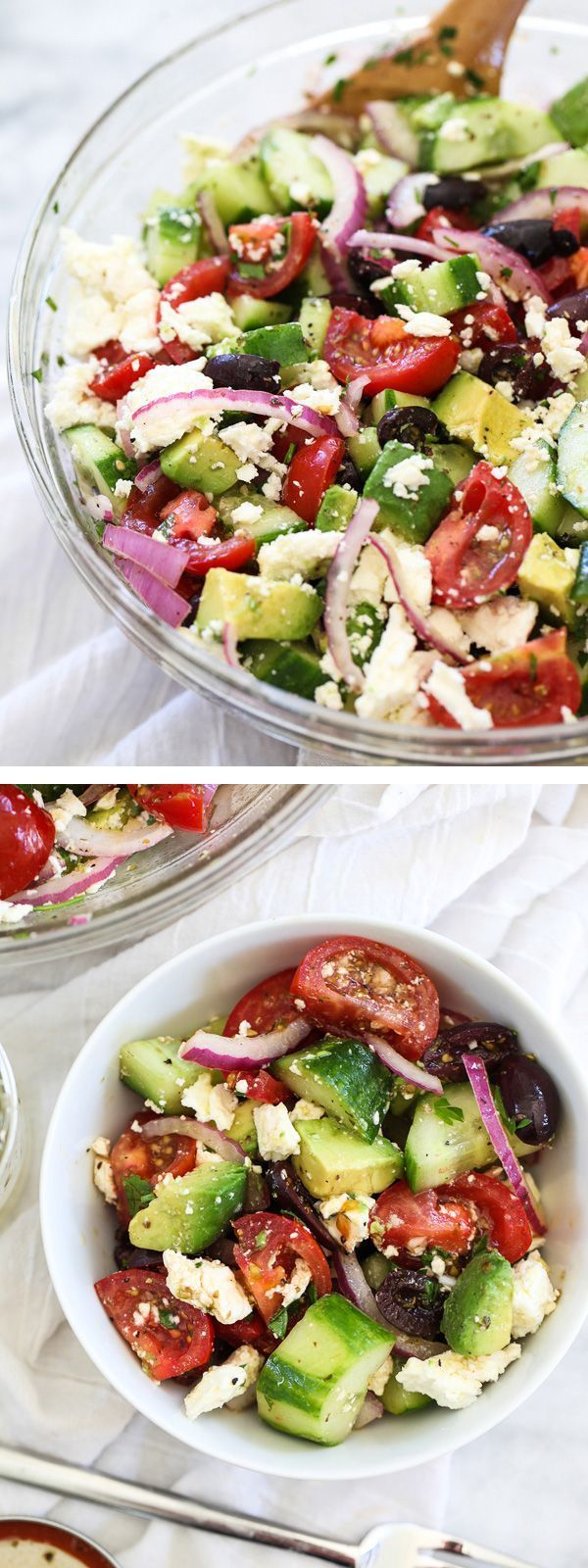 Greek Salad with Avocado and crunchy veggies is my favorite summertime salad with a tangy dressing