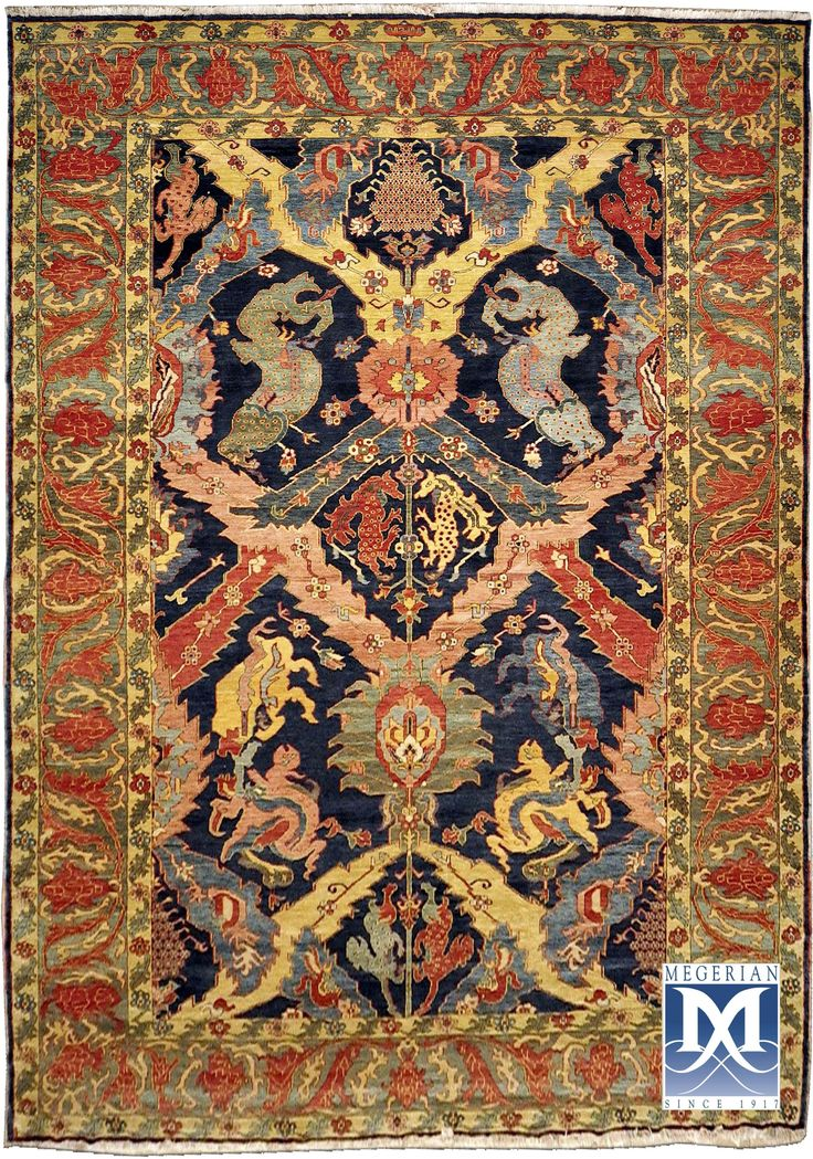 Armenian   classical  dragon  rug  by  Megerian  Carpet Company, handmade, wool, antique design.