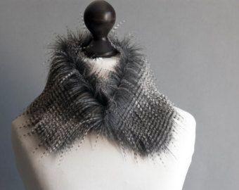 Faux fur collar in grey. Faux fur wrap. Fur neck warmer. by imali