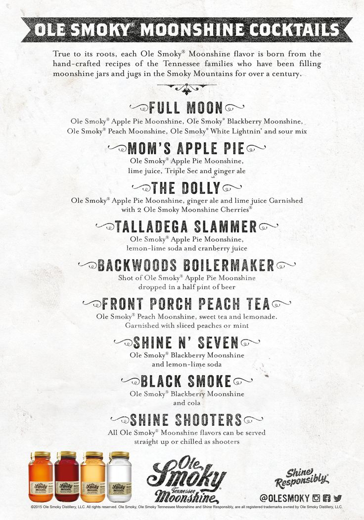 Ole Smoky Moonshine Cocktail Menu