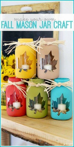 DIY fall mason jar craft as a decor idea for the kitchen, windows, exterior. Perfect for Thanksgiving or Halloween crafts project. Get the tutorial.