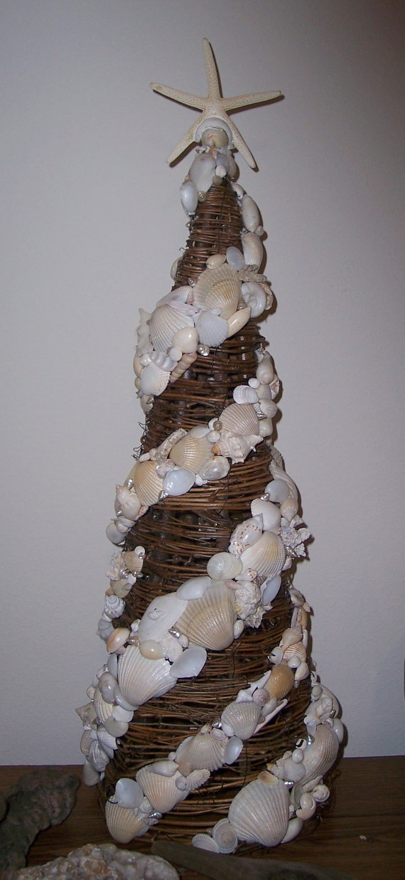 White and Polished Grapevine Ivory Sea Shell Tree with Starfish Top Original Swirl Design with Variety of Shells