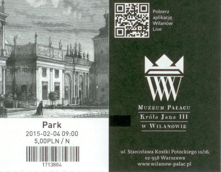 Garden entrance ticket for Wilanów.