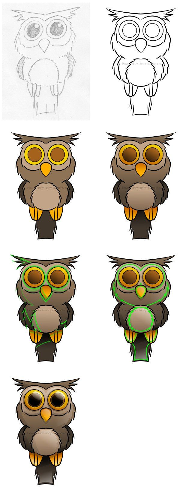 How to draw an owl with big large cartoon eyes. :) #howtodraw #cartoonowl #drawinganowl