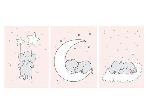 Pink Girl Love Elephant Moon Stars Nursery Decor Baby Girl Pink