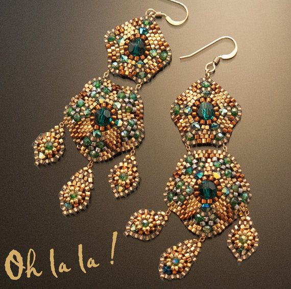 Swarovski and Gold Fill Statement Swarovski Crystal Earrings Beaded by Esther Marker