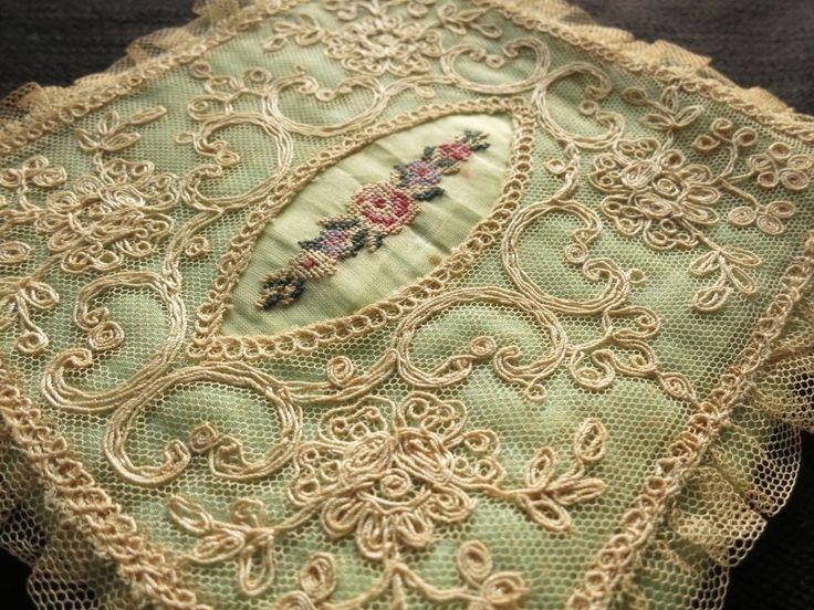 Romantic Antique c1920 Green Satin Hankie Holder Tambour Lace Petit Point | eBay