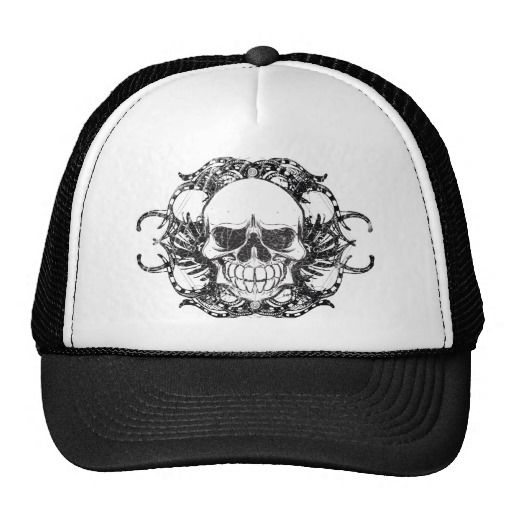 Urban tribal skull trucker hat