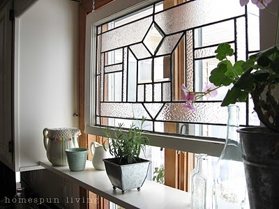 The old leaden window and the plant shelf...perfect for any kitchen.