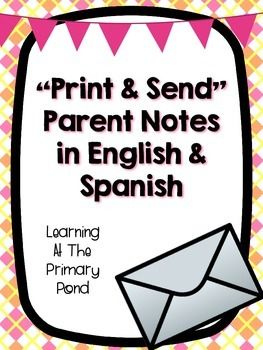 Parent Notes Pack in English and Spanish