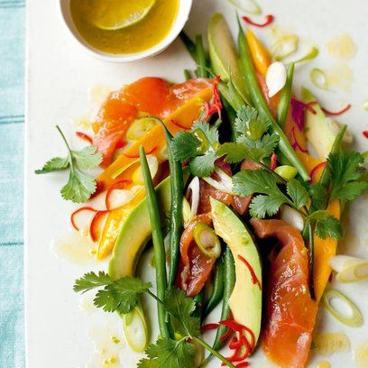 Salad of Avocado, Green Beans, Mango and Raw Salmon, with Lime and Ginger dressing. For the full recipe and more like this, click the picture or visit RedOnline.co.uk