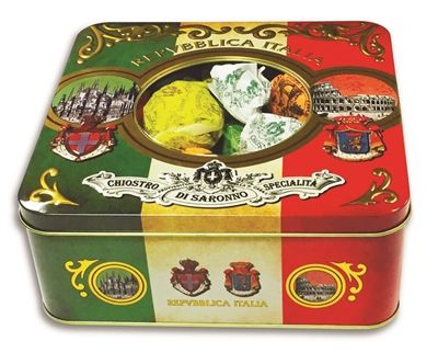 """A gorgeous tin with a selection of #cookies from Saronno, #Italy. Amaretti—#Delicious crunchy treats made with sugar, egg whites, apricot kernels. Each wrapped in elegant paper. Soft #Amaretti—crumbly little cakes with wonderful almond flavor. #Baci—2 light-#chocolate spheres that """"kiss"""" each other with a chocolate cream filling. In Italian, """"Baci"""" means kiss.  #MenusAndMusic  https://www.menusandmusic.com/Italian_Holiday_Cookies_p/16h-0304.htm"""