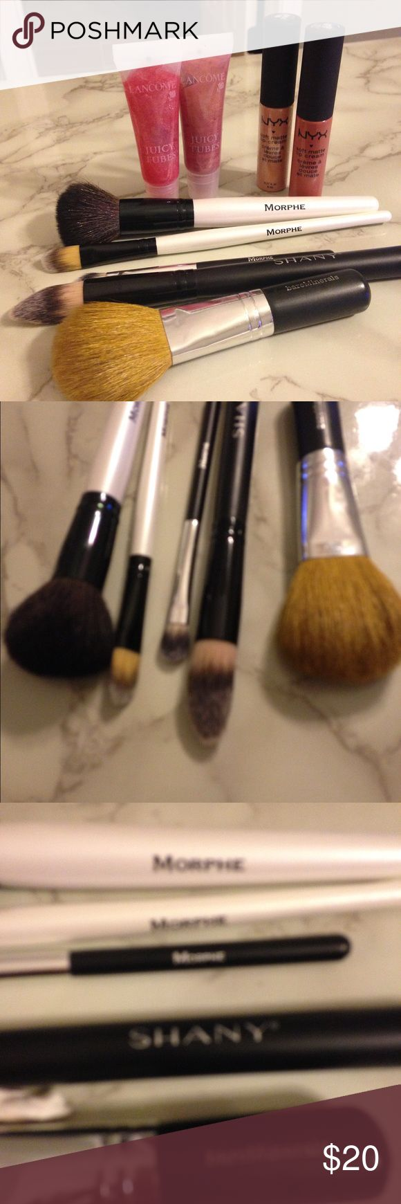 5 Brush Bundle brand names   Brush bundle 5 brushes total 3 Morphes Blush or powder small eyeshadow and contour or foundation brush, one Shay liquid foundation brush and one BareMinerals brush. Makeup Brushes & Tools