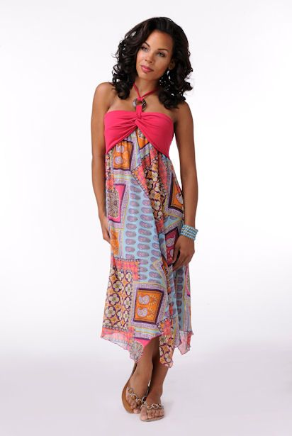 Elegantly Styled Pink Lined Print Dress  Price: $59.99