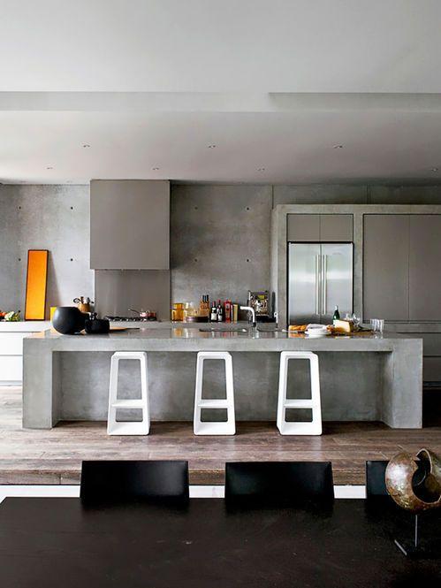 Cozinha nos tons de cinza Arquiteto: Robert Mills Architects