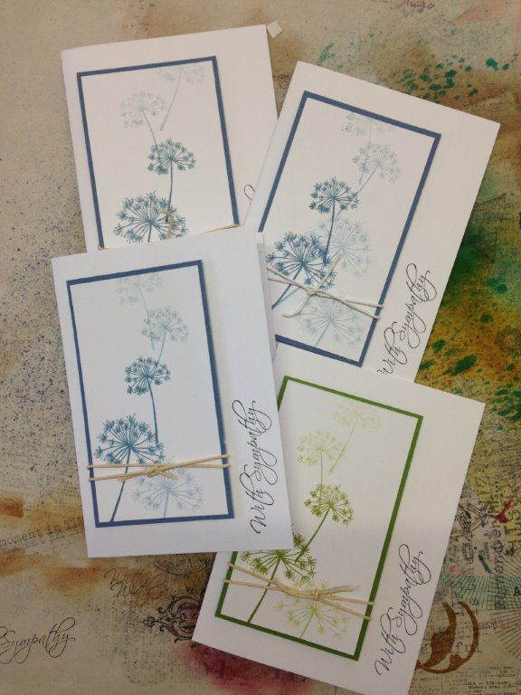 Simple Sympathy cards. All Kaszazz stamps used - 4756Q River Bank Un-Cut Set (6) and 4601M Express Yourself Sympathy Un-Cut Set (8). Archival Inkpads - Cornflower Blue and Leaf Green.