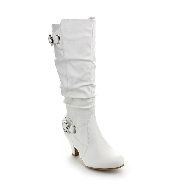 Top Moda Women's 'Bag-55' White Buckle Slouched Boots | Overstock.com Shopping - The Best Deals on Boots