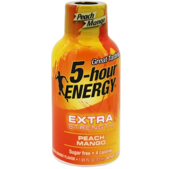5 Hour Energy #Energy Shot Extra #Strength Peach #Mango is a delicious energy shot that is positively #bursting with flavor. Plus, this Extra Strength flavor has the unbeatable blend of B vitamins, amino acids and caffeine you need to get that extra #boost—all with zero sugar or herbal stimulants and four calories.