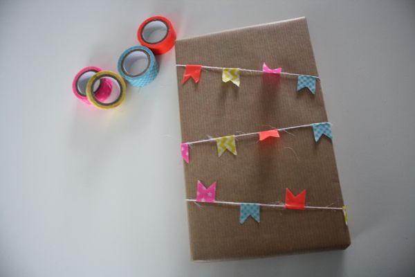 cadeau inpakken washi tape
