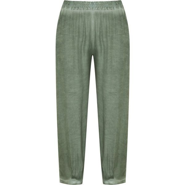 Isolde Roth Khaki-Green Plus Size Washed loose fit trousers ($73) ❤ liked on Polyvore featuring pants, plus size, green pants, loose fit khaki pants, green khaki pants, plus size pants and women's plus size khaki pants