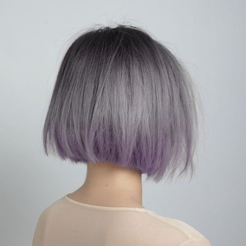 Silver hair. Short bob haircut