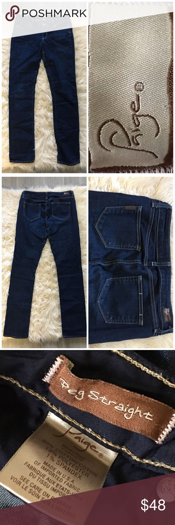 """Paige Denim Medium/Dark Wash Peg Straight Jeans Paige Denim Medium/Dark Wash Peg Straight Jeans. Size 29! Thank you for looking at my listing. Please feel free to comment with any questions (no trades/modeling).  •Inseam: 33""""  •Condition: VGUC. No holes or stains!   ✨Bundle and save!✨10% off 2 items, 20% off 3 items & 30% off 5+ items! AA Paige Jeans Jeans Straight Leg"""