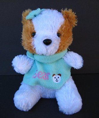 "Cute GIRL BEAR Teal Shirt Bow 10"" PLUSH APPEAL Soft Stuffed Animal Toy"
