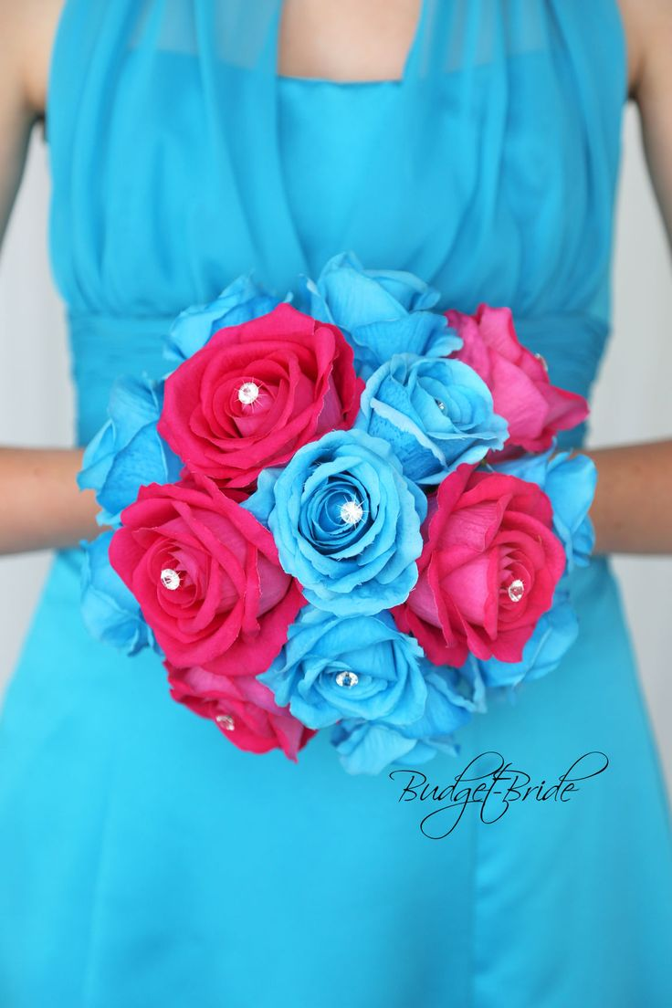 afternoon tewedding theme ideas%0A Davids Bridal Malibu Blue and Begonia Wedding Bouquet perfect for hot pink  and turquoise theme wedding