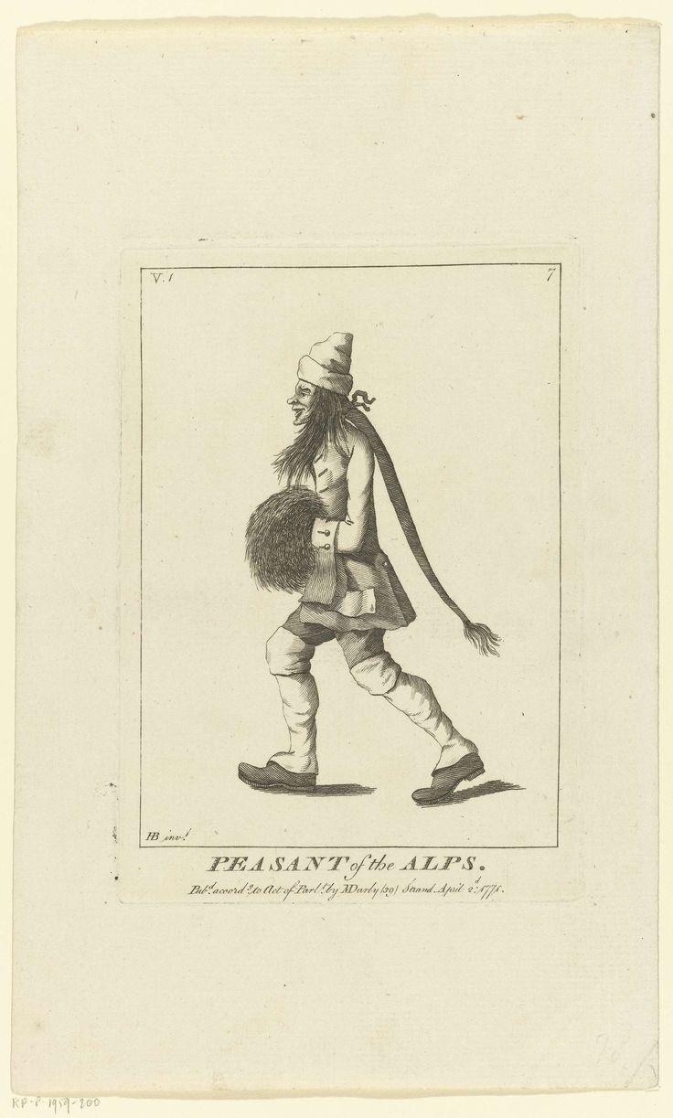 Matthew Darly   Peasant of the Alps, Matthew Darly, 1771   Man met lange haren en zeer lange 'paardenstaart' onder een muts, de handen in een mof, lopend naar links.  Linksboven V.1; rechtsboven nummer 7. Engelse caricaturen uit de serie 'Macaronies' uitgegeven door D. Marly in 1771 en 1772