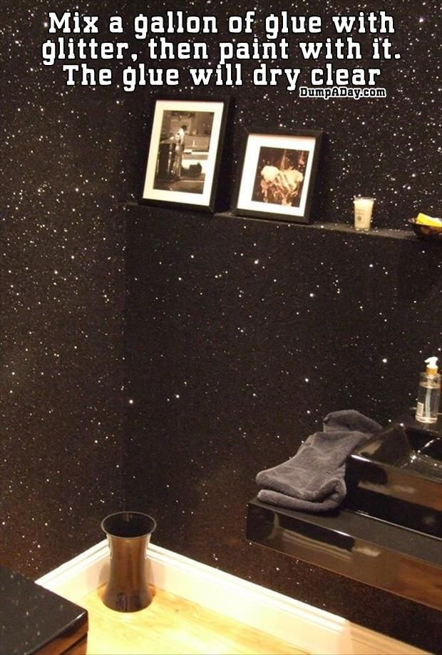 Do It Yourself Craft Ideas – The glittered black wall paint looks fun.