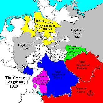 "The Congress of Vienna (1814-1815) greatly simplified the political division of Germany. The Holy Roman Empire of 1648 contained 234 territorial units, with 51 Free Cities, and multiple ecclesiastical states, like the great Archbishoprics of Salzburg, Magdeburg, and Trier and the Bishopric of Münster. Nevertheless, the 32 entities that remained after Vienna (with only 4 Free Cities and no ecclesiastical territories) were still a mess. The ""German Confederation"" established by the Congress."