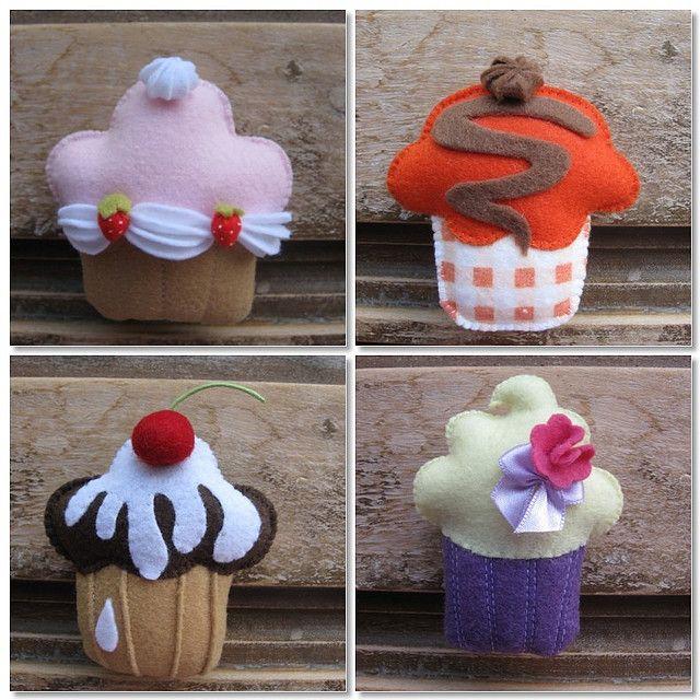 felt cupcake, Flickr photo, no pattern or tutorial.