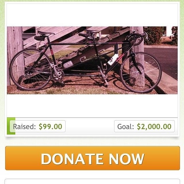 We're trying to raise funds for a new #tandem http://www.gofundme.com/6pzv4s we'd love your support! #cycling #tandembike