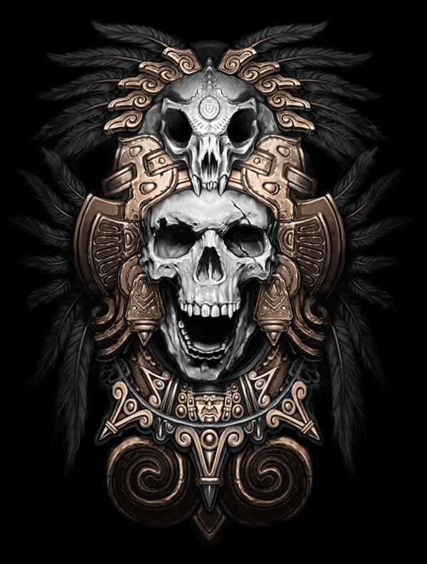 Teskatlipoka by Kamila , via Behance #skull #illustration #dark