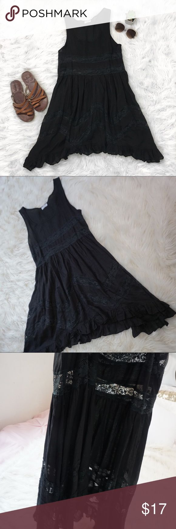 Little Black Dress Tobi Throw over dress Super cute dress! It's very flows and fresh. No flaws, great condition. The lacing is see through so I would recomendable throwing something under. It can also be used for a super cute bikini cover up! No size shown but fits medium. Tobi Swim Coverups
