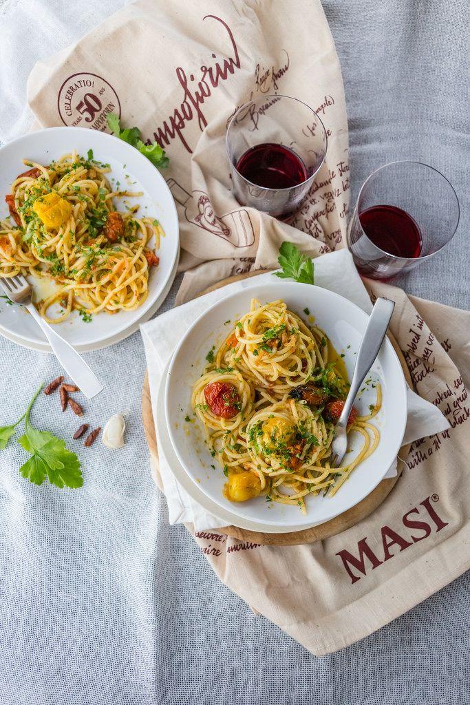Spaghetti Aglio E Olio With Slow-roasted Tomatoes