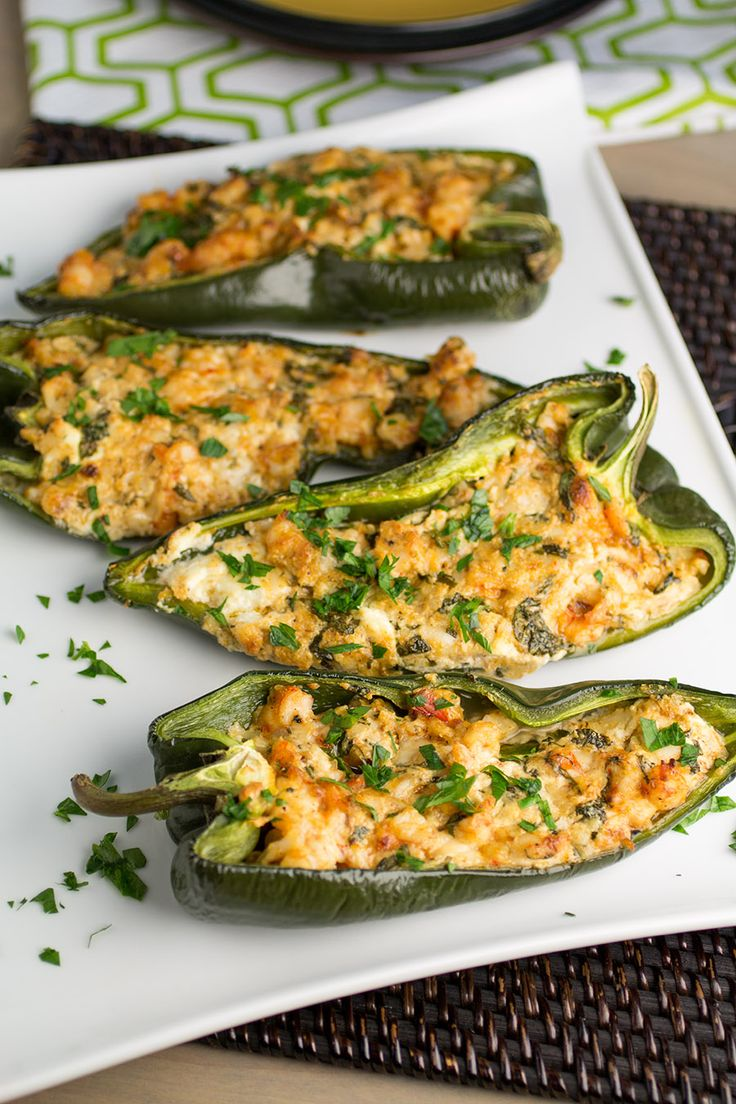 Poblano Peppers Stuffed with Shrimp and Goat Cheese