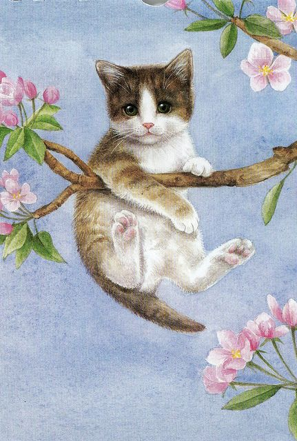 I found this lovely illustration of this kitty up a tree on an old calander.  This was May.