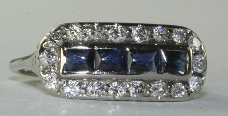 EDWARDIAN ANTIQUE PLATINUM 1 CARAT SAPPHIRE DIAMOND RING SIZE 7.75   Jewelry & Watches, Vintage & Antique Jewelry, Fine   eBay!