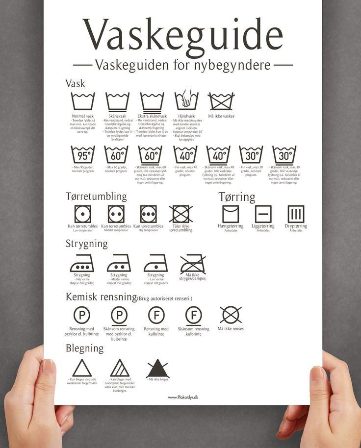 Vaskeguide (Hvid) | Plakatdyr.dk